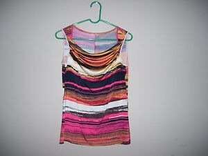 af89bcb15a Details about Womens Size L Multi-Color Geometric Striped Stretch Knit Top  Sleeveless