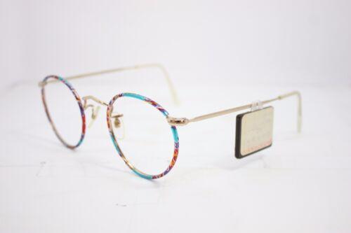 Lesbro Round Vintage Eyeglasses Eyewear Made in England Multicolour Gold 45mm