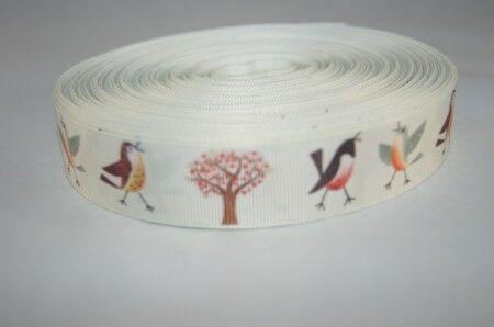1824 Webband Borte Lustige Vögelchen 25mm Breite Ripsband