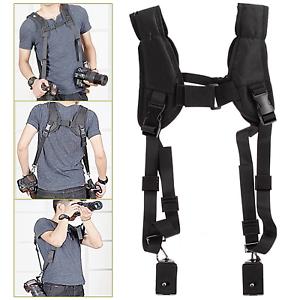 Black-Quick-Rapid-Double-Dual-Shoulder-Sling-Belt-Strap-for-DSLR-Digital-Camera