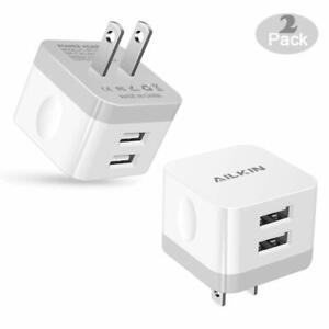 Ailkin 2pcs 2ports Fast Phone Charger 2 4a Square Usb Wall Phone Charger Us Plug Ebay