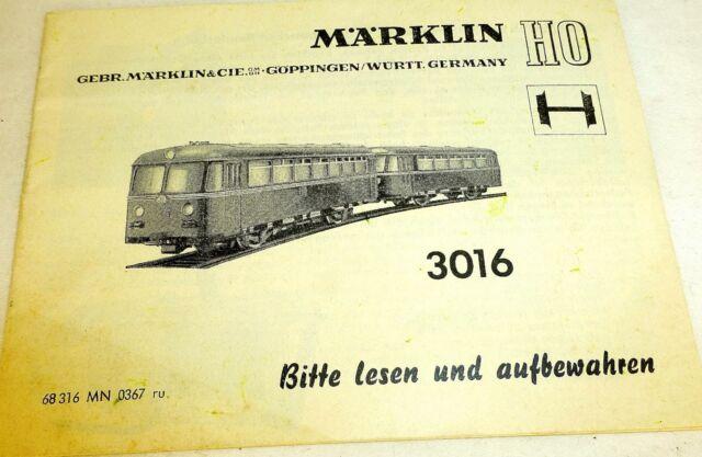 Märklin Manual Kit 3016 68 316 Mn 0367 Ru Å
