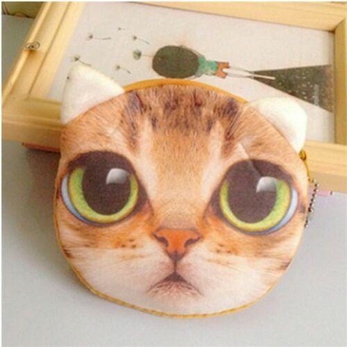 Cute 3D Cat Dog Face Coin Wallet Animal Face Zipper Bag Mini Plush Purse
