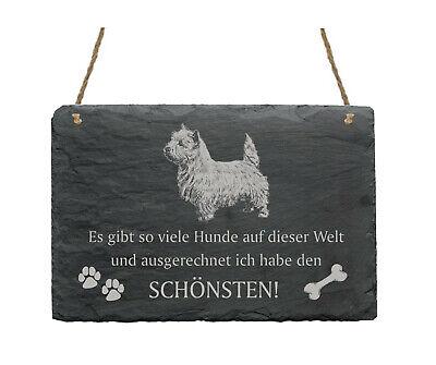 Gelernt Schiefertafel « West Highland White Terrier - SchÖnster Hund » Spruch Hunde Deko