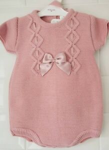 045da2cf3fd6 Beautiful Spanish Style Baby Girl Dusky Pink Knitted Romper   Bonnet ...