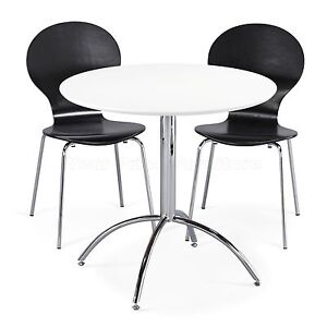 dining set round white table and 2 black chairs chrome keeler kitchen cafe style ebay. Black Bedroom Furniture Sets. Home Design Ideas