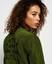 New Womens Superdry Quilted Utility Bomber Jacket Khaki