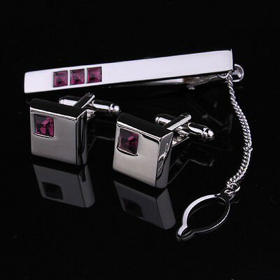 Mens Silver Square Cufflink Business Shirt Wedding Cufflinks Slim Tie Clip Set
