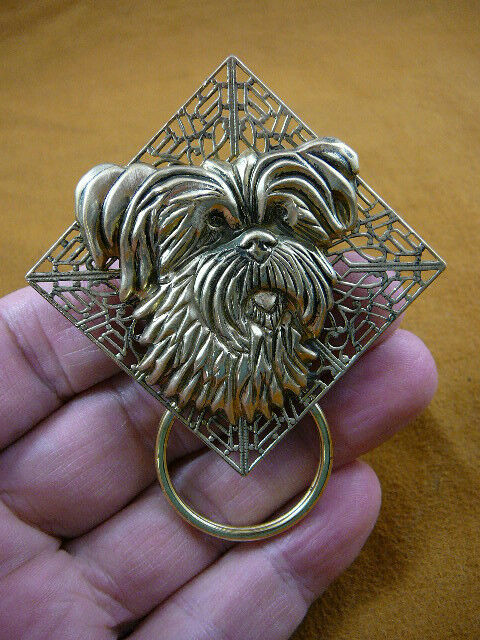 (E526) Yorkshire Yorkie dog Westie Eyeglass BRASS pin pendant ID badge holder