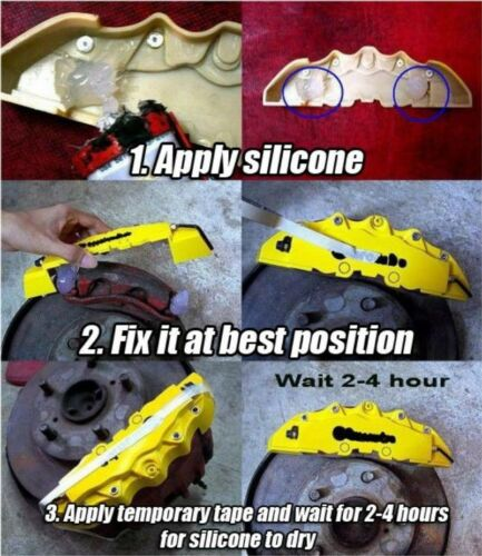 BIG YELLOW Brake Caliper Covers Kit Black DE //////M Logo Front Rear 4xL+M fits BMW