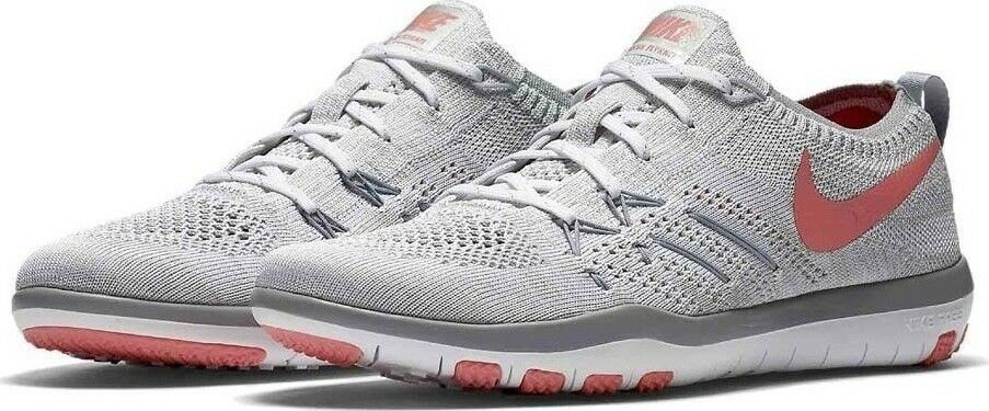Nike Free TR Focus Flyknit White/Bright Melon/Wolf Grey 844817 108 Wmn Sz 6