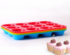 12-Cup-Large-Silicone-Bun-Muffin-Non-Stick-Tin-Tray-Baking-Pudding-Grateful