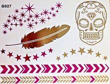 Flash Einmal Temporary Klebe Tattoo Gold Pink 7teile Armband Hals Kette Body G27