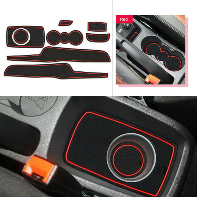 White Muchkey Non-Slip Interior Door Bin Mats Cup Holder Rubber Pad Set Fit For Ford Fiesta MK7 09-13 8 Pieces Per Set