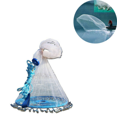 8ft-12ft Saltwater Fishing Cast Net For Bait Trap Height Easy Throw Sink US