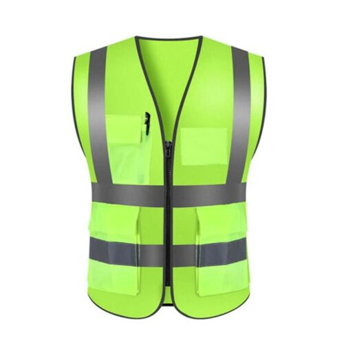High Visibility Reflective Safety protective Vest Work Security Pockets