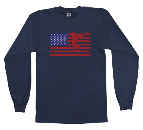 Threadrock Kids American Flag Gymnast Youth Long Sleeve T-shirt USA Gymnastics