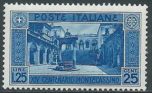 1929-REGNO-MONTECASSINO-1-25-LIRE-MNH-E55