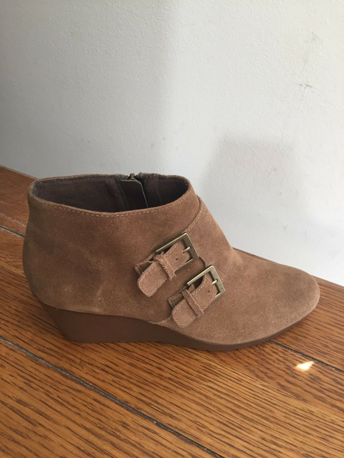 NEW Munro Drew Size 8.5 N Brown Suede Leather Ankle Boots Wedges Water Resistant