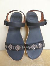 e4765301f2623 FITFLOP BLACK BON II BACK STRAP LEATHER SANDALS CRYSTAL TRIM SIZE 6 - BNWT