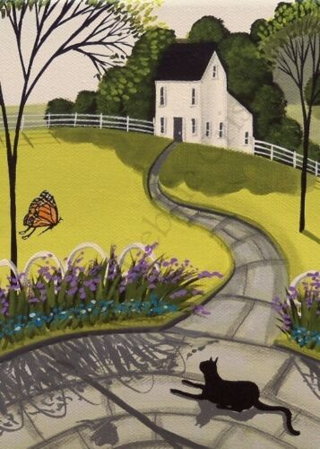 Giclee ACEO print folk art primitive patio black cat butterfly garden whimsical