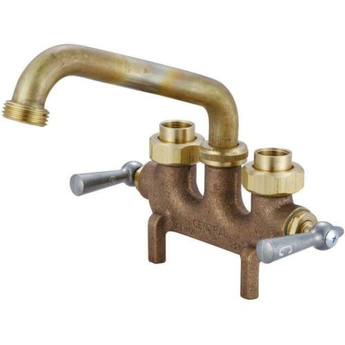 Cast Brass Laundry Faucet Utility Sink Dual-handle Swivel Spout Rough Brass New