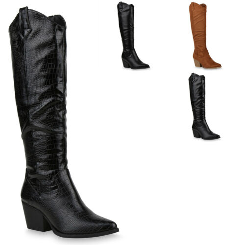 Damen Cowboystiefel Gefütterte Western Cowboy Boots 832621 Trendy Neu