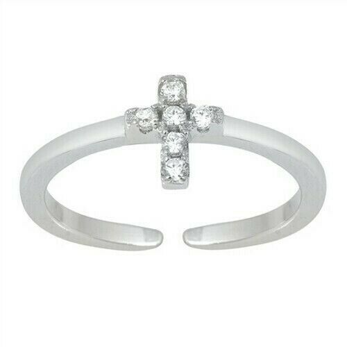 Adjustable Cross Toe Ring Sterling Silver 925 Jewelry Polished Face Height 6 mm