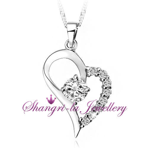 925 STERLING SILVER Love HEART Pendant Womens NECKLACE SWAOVSKI CRYSTAL SS1037