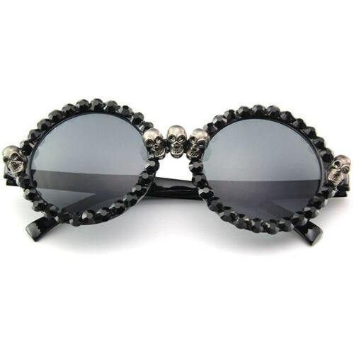 New 2018 Women Luxury Brand Sunglasses Skull Rhinestone Decoration Cat Eyes