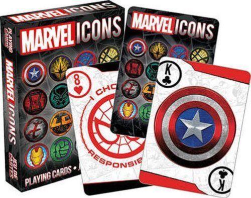 Marvel Icons Playing Cards Logos Captain America Spider-Man Hulk Thor Iron Man