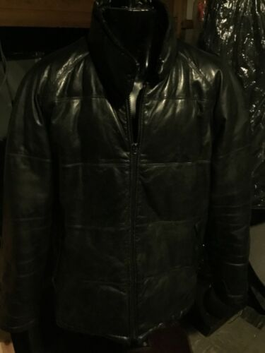 Holloway men's puffer style leather jacket