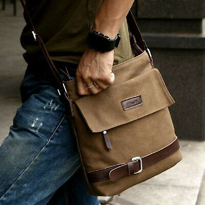 Men Vintage Canvas Faux Leather Shoulder Messenger  Working Hiking Bag Satchel