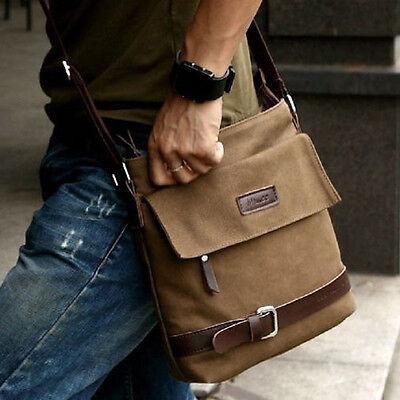 Men Vintage Canvas Faux Leather Shoulder Messenger  Working Hiking Bag Satchel