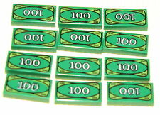 LEGO LOT OF 12 GREEN $100 DOLLAR BILL MONEY BANK PIECES 1 X 2 TILES