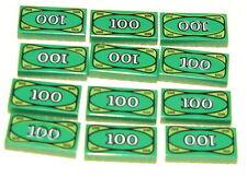 Lego Tiles Green 1x2 $100 Bill Money Bank Minifigure Smooth Finnish 6pcs Tile