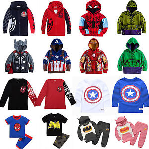 Kids-Boys-Marvel-Superhero-Jacket-Hoodies-Sweatshirt-Jumper-Coats-Shirt-Outfits