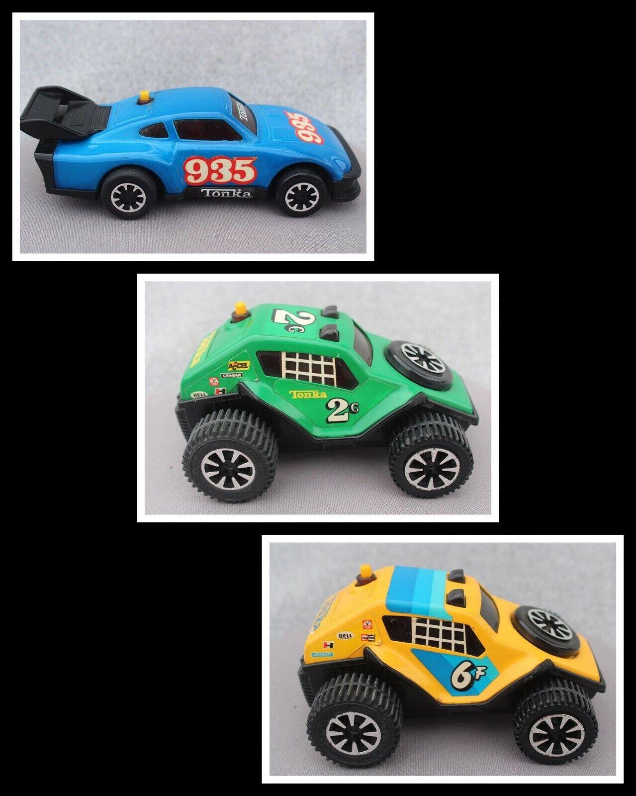 3 TONKA Clutch Popper Friction Car Porsche 935 116Baja 6F 187Dune Crawl 2G 126
