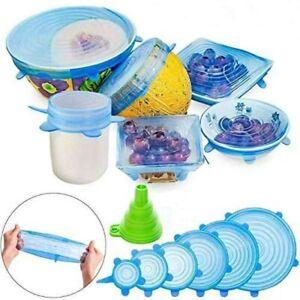 Silicone Food Bowl Cover 6//12 Pcs Stretch Lids Container Storage Wraps Seals FDA