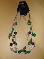 Elements By Fashion Bug Rust Green Olive 5 Strand Silvertone Necklace & Earrings