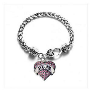 Pink Ribbon Breast Cancer Awareness HOPE Crystal Heart Silver Charm Bracelet