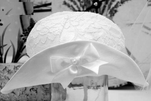 blanco Ecru rosa, Sombrero bautizo punta de satén color