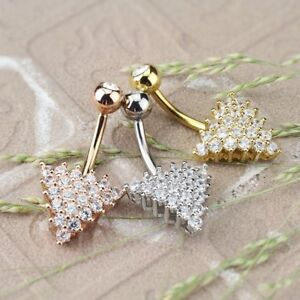 Details About Cz Paved Triangle Belly Button Ring Navel Piercing Body Jewelry 14g 3 8