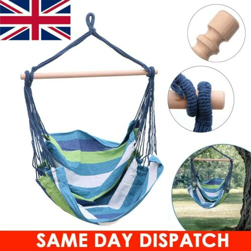 Hanging Hammock Chair Portable Garden Swing Seat Travel Camping Blue Color UK