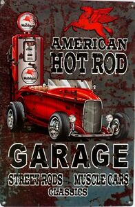 AMERICAN-HOT-ROD-GARAGE-MOBIL-GAS-ALL-WEATHER-Metal-tin-Sign-450-X-300