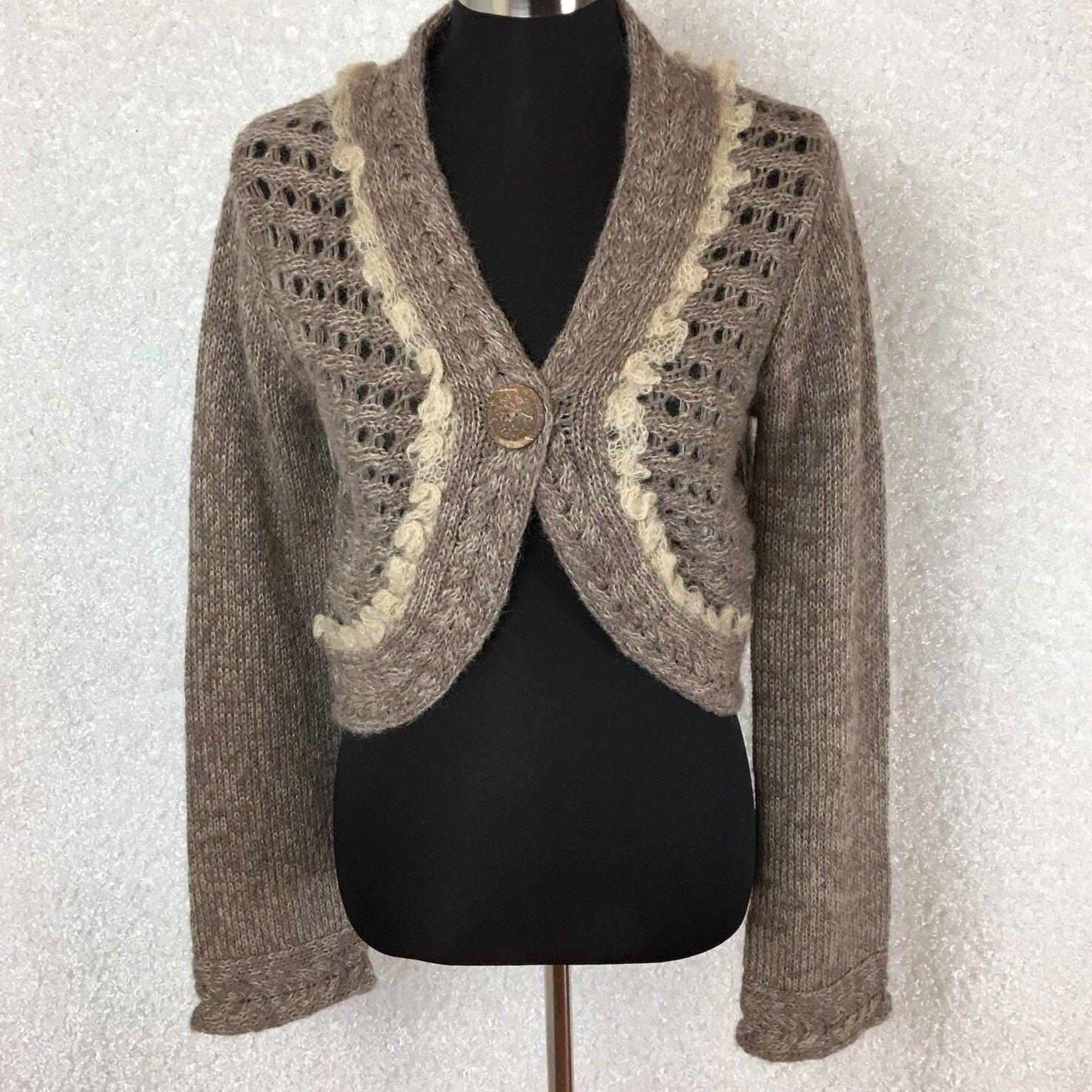 Anthropologie Sleeping On Snow Cardigan Sweater M Bolero Beige Button Alpaca