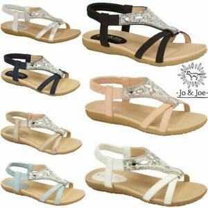 Details about Ladies Flat Low Wedge Sandals Women Summer Beach Fashion Strappy Gladiator Shoes