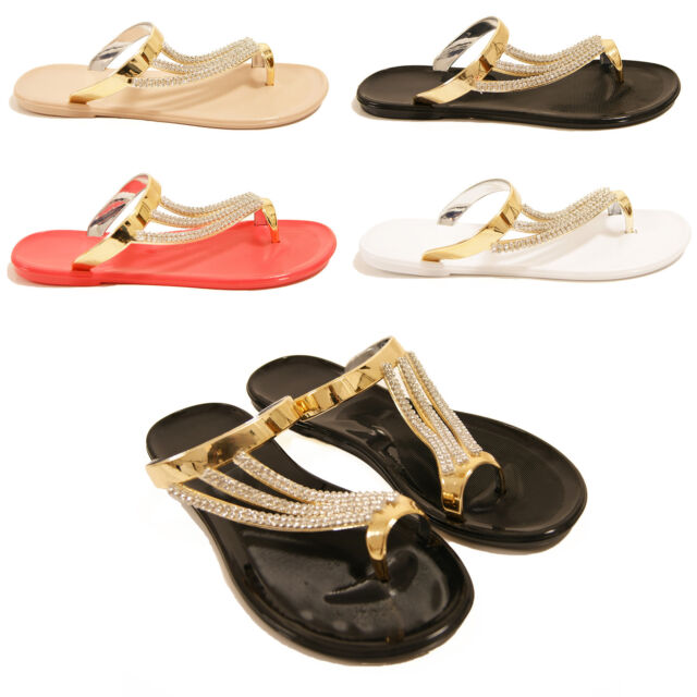 LADIES WOMENS FLAT DIAMANTE SUMMER JELLY JELLIES FLIP FLOP SANDALS SHOES SIZE