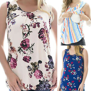 Women-Maternity-Summer-Floral-Vest-Tank-Nursing-Sleeveless-Tops-Blouse-Tee-Shirt