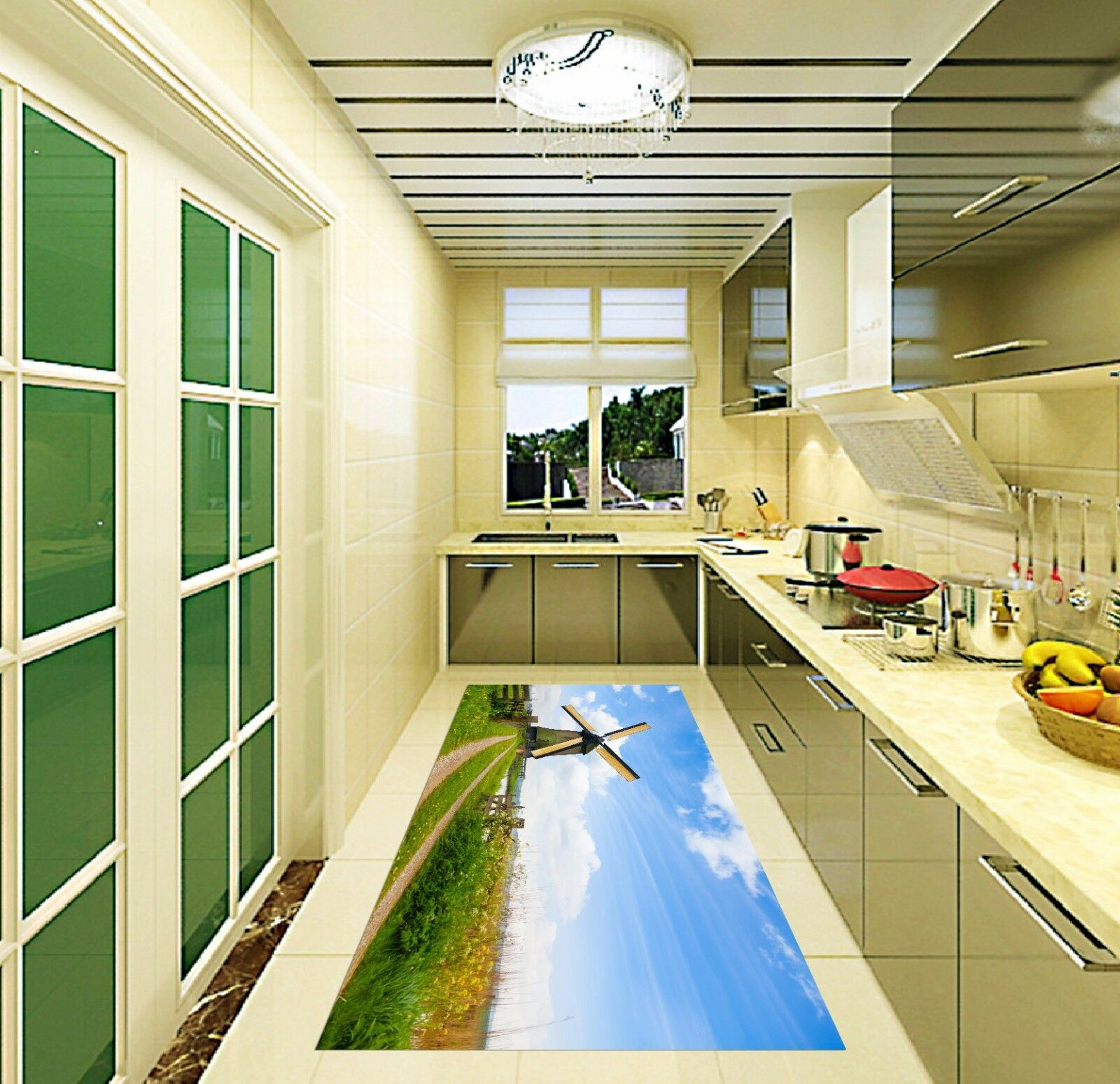 3D Sky Windmill Field 833 Kitchen Mat Floor Murals Wall Print Wall Deco UK Carly